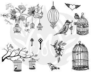 TELA PARA SILKSCREEN MOTIVO BIRDCAGE (GAIOLAS DE PASSAROS)