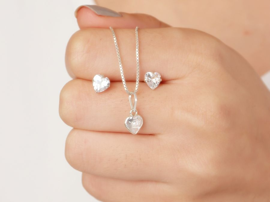 Conjunto colar e brinco feminino com pedra zirconia transparente prata 925
