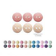 Botões Com Poá Redondos - 17 mm