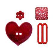Botões Composê vermelho