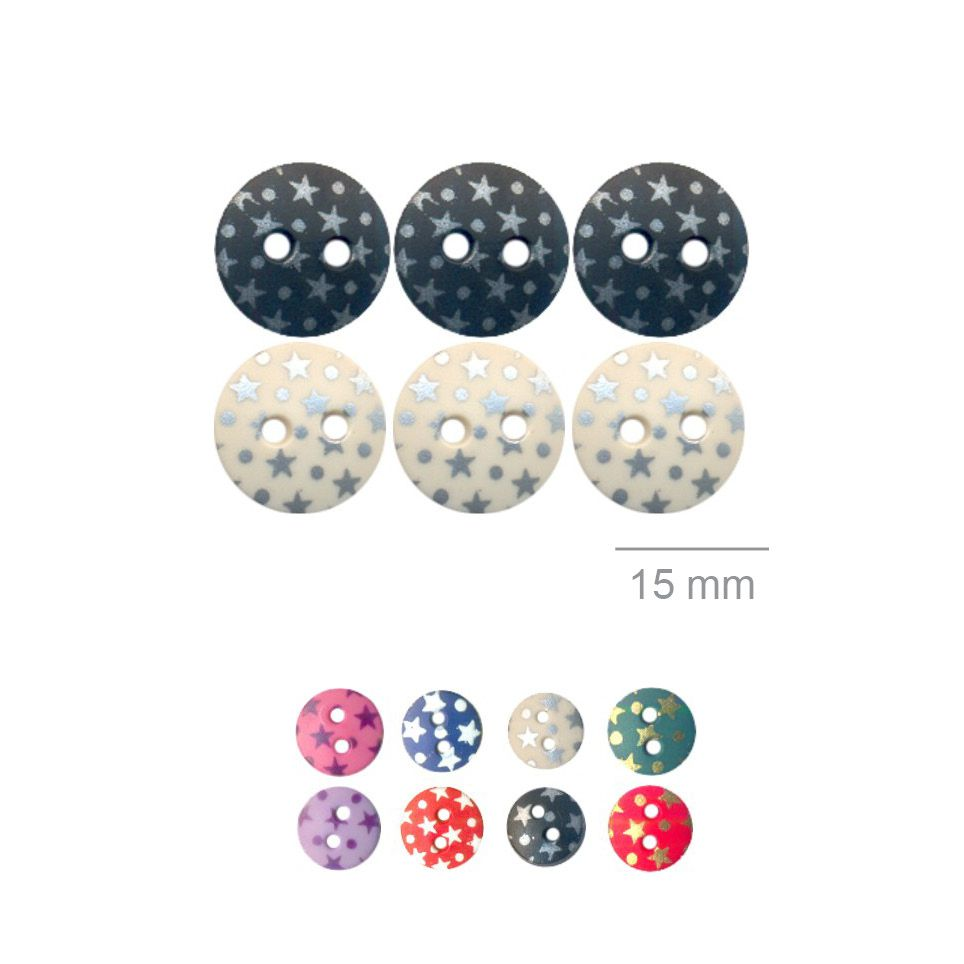 Botões Com Estrelinhas - 5 Pacotes Tamanho - 15