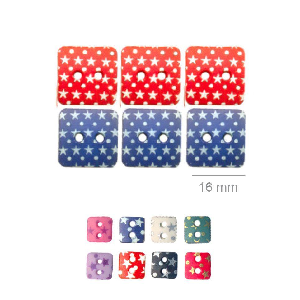 Botões Com Estrelinhas - 5 Pacotes Tamanho - 16