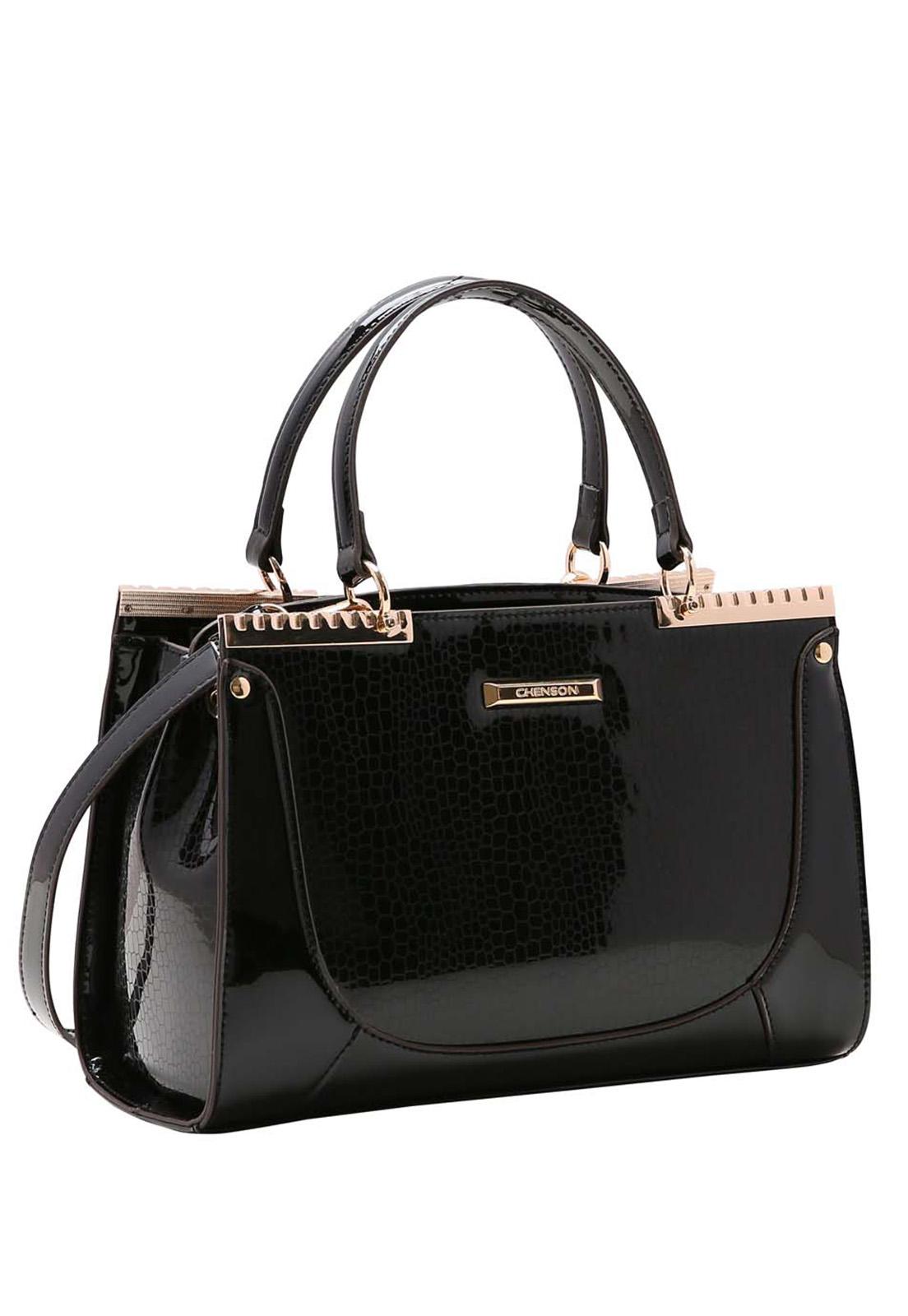 Bolsa Feminina Chenson Croco Metalizado Mão 3483514