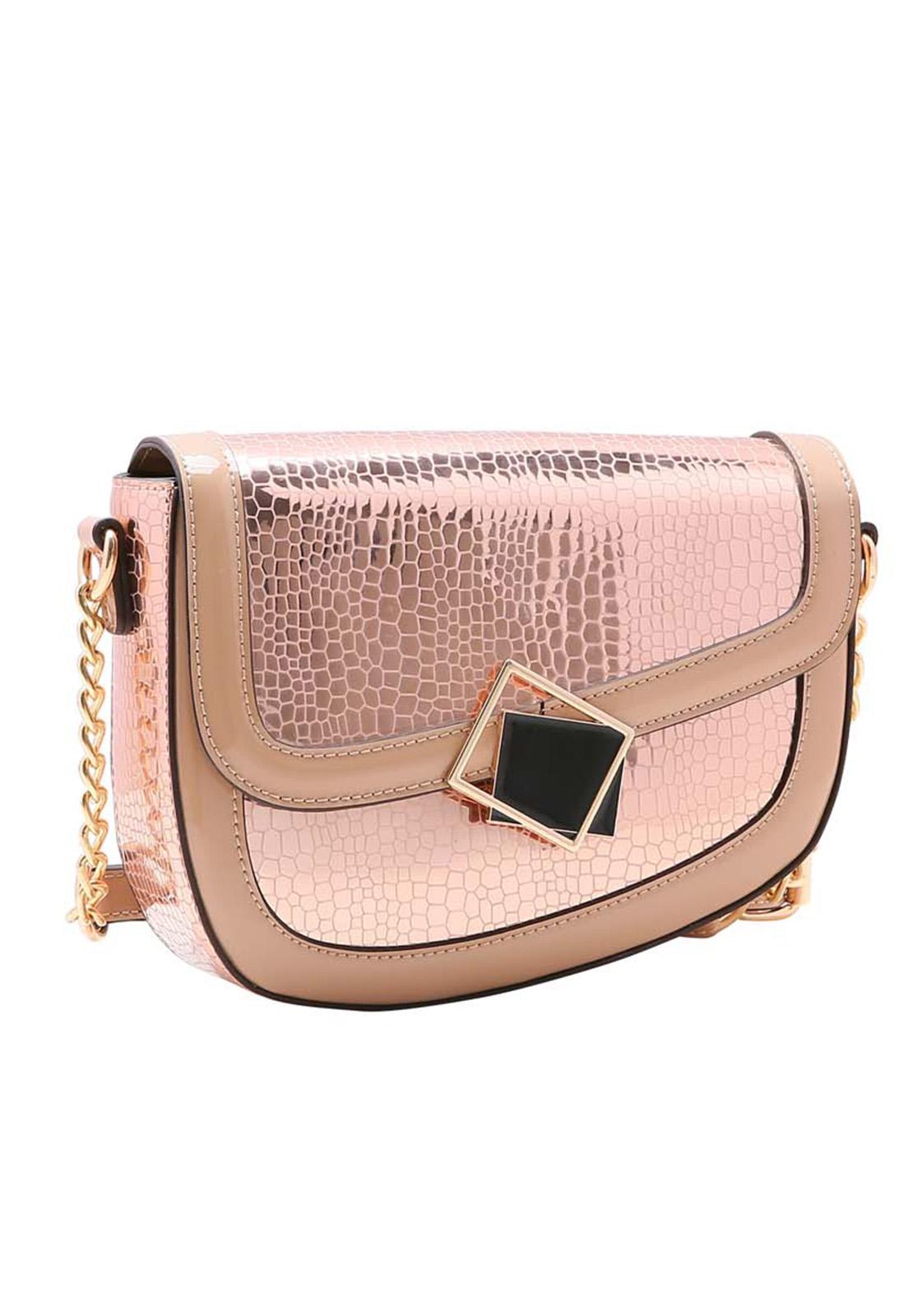 Bolsa Feminina Chenson Croco Metalizado Transversal 3483515