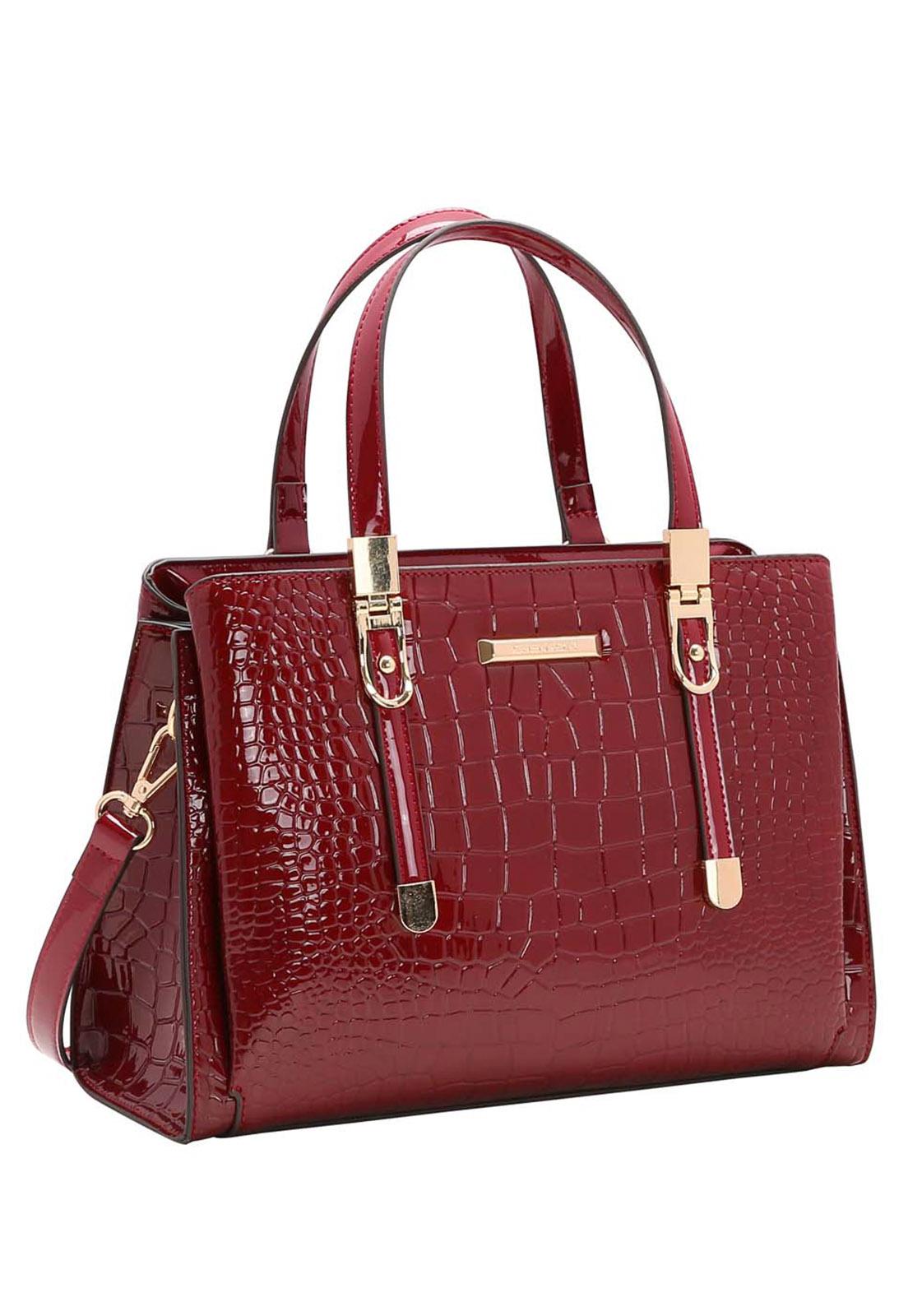 Bolsa Feminina Chenson Croco Verniz  Mão 3483492