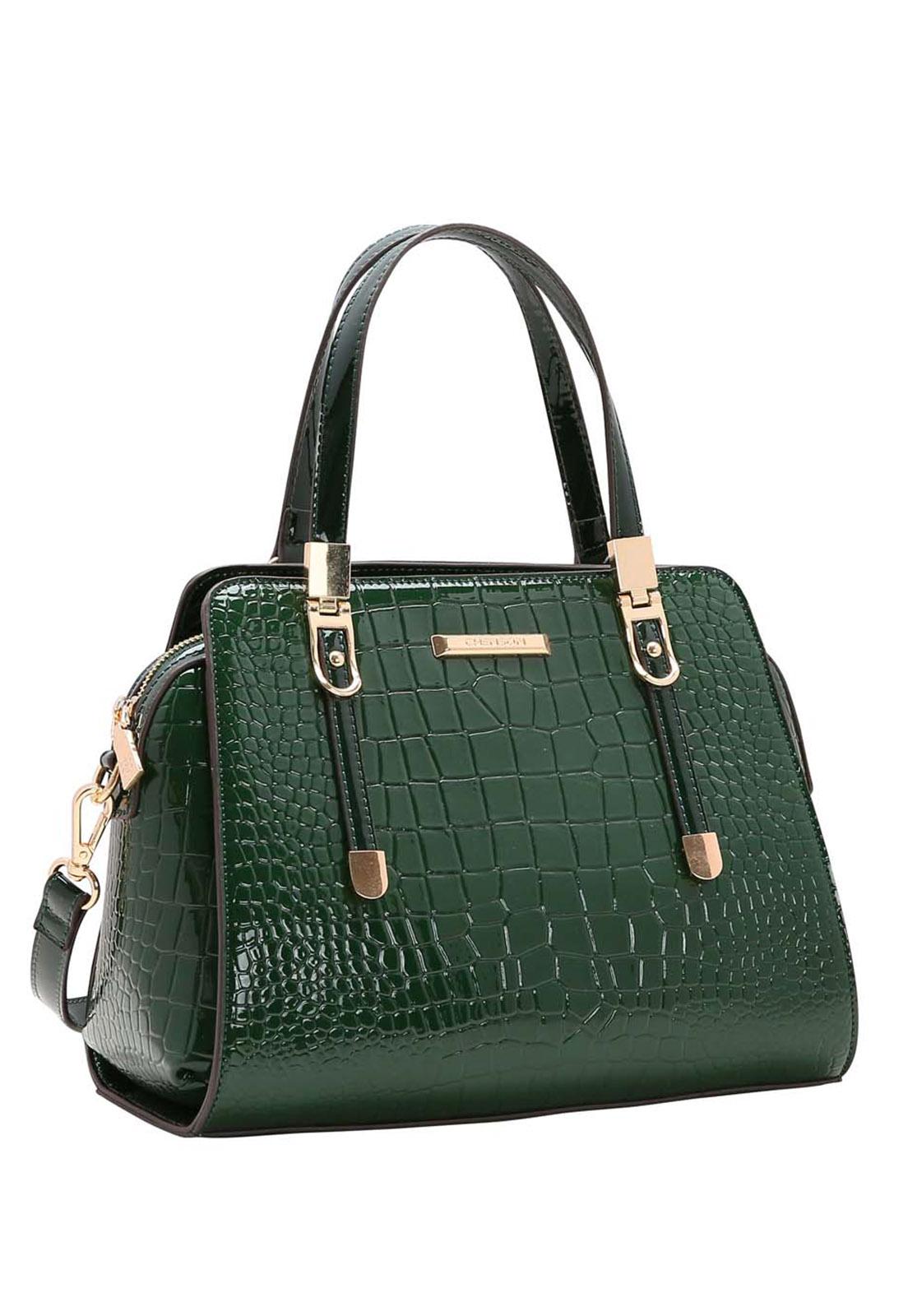 Bolsa Feminina Chenson Croco Verniz  Mão 3483494