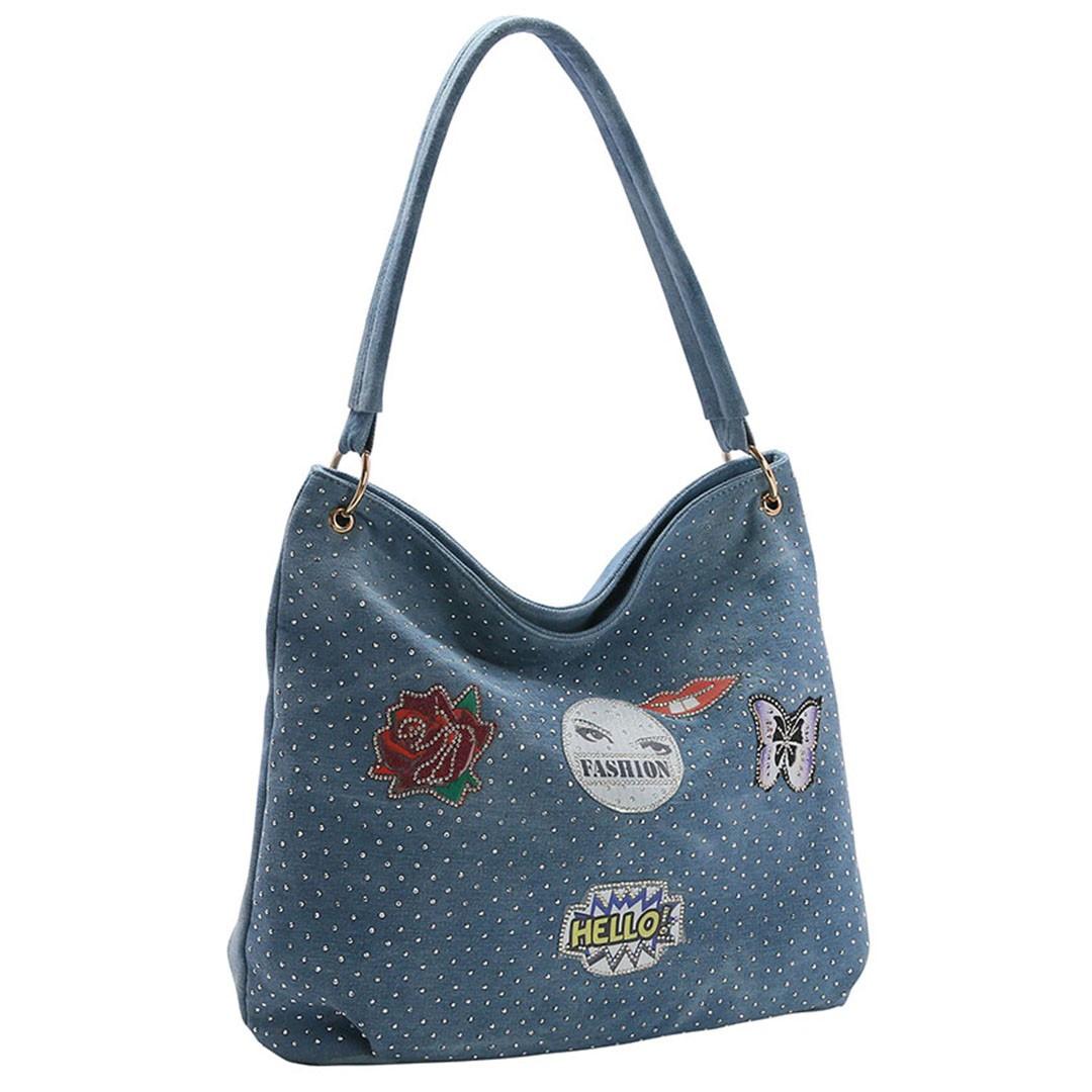 Bolsa Feminina Chenson Jeans Patch de Ombro 3682534