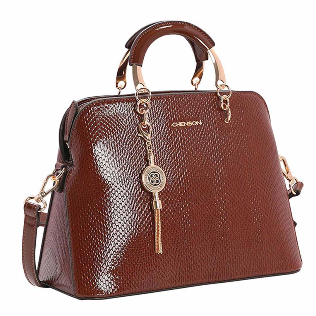 Bolsa Feminina Chenson Lagarto Verniz de Mão 3482902