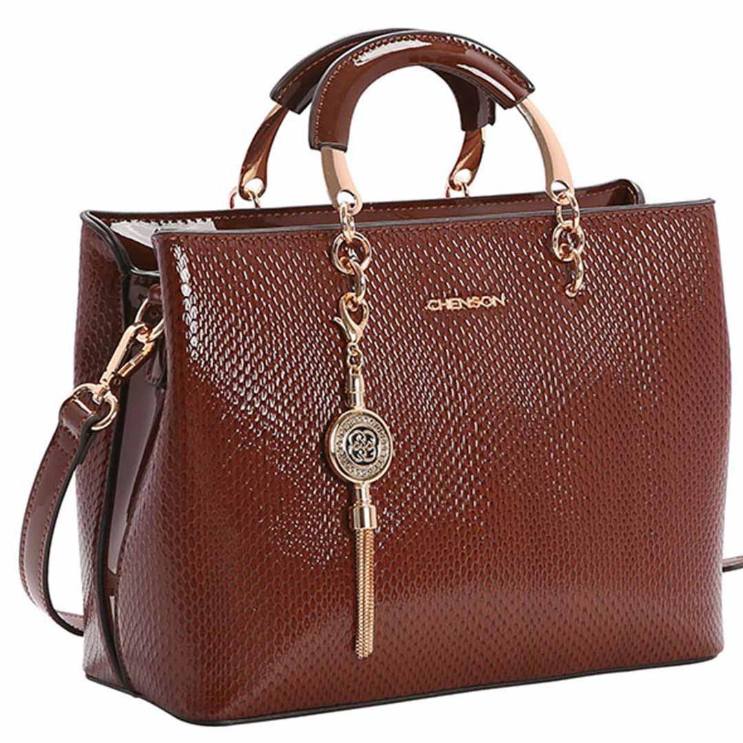 Bolsa Feminina Chenson Lagarto Verniz de Mão 3482903