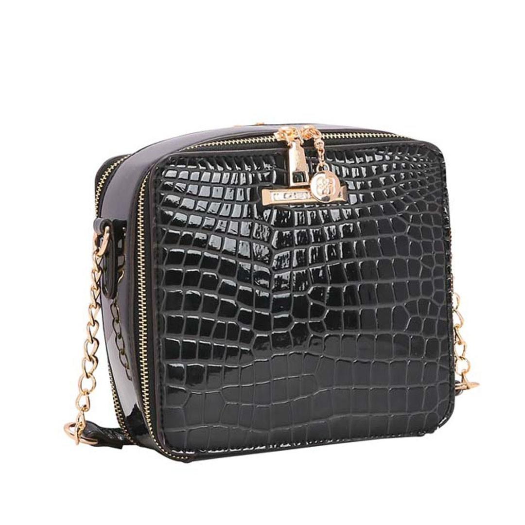 Bolsa Feminina Chenson Transversal Croco Verniz 3483216