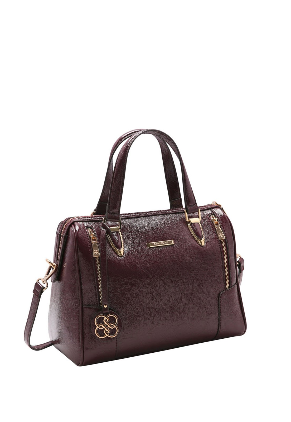 Bolsa Feminina Chenson Verniz Texturizado Baú 3483212