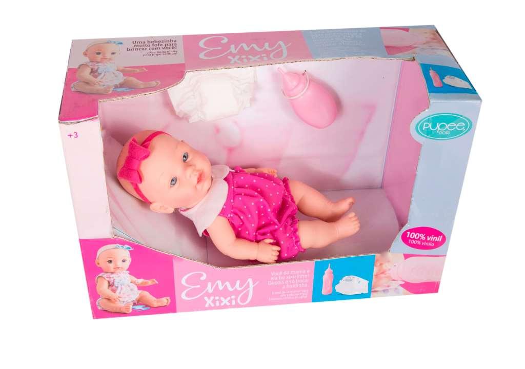 Boneca Emy Faz Xixi Com Fraldinha E Mamadeira - Pupee
