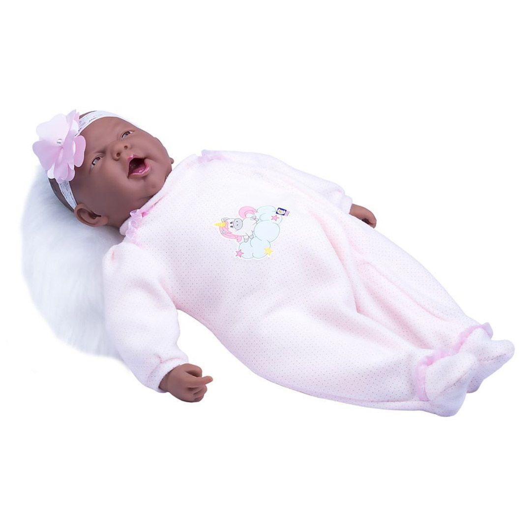 Boneca Negra Bebe Reborn Coleção Ninos Boca Aberta - Cotiplás 2213