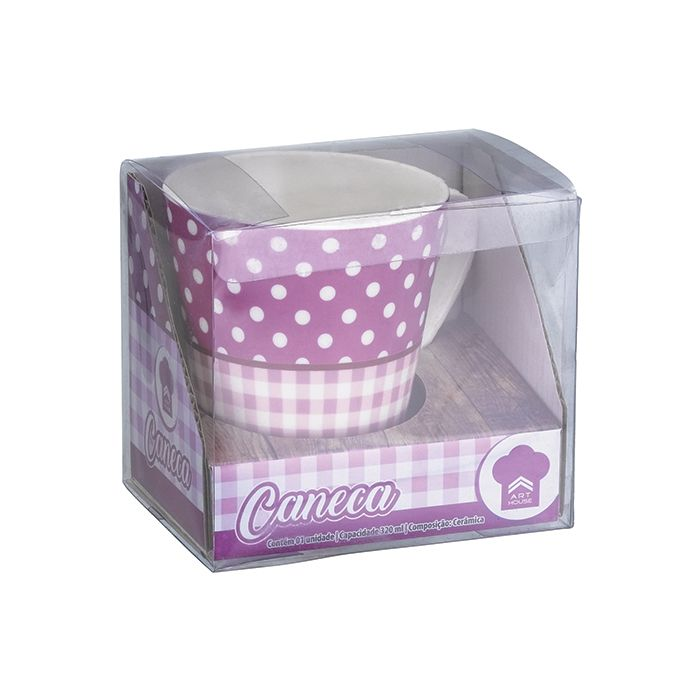 Caneca Poa Xadrez 320ml - Art House