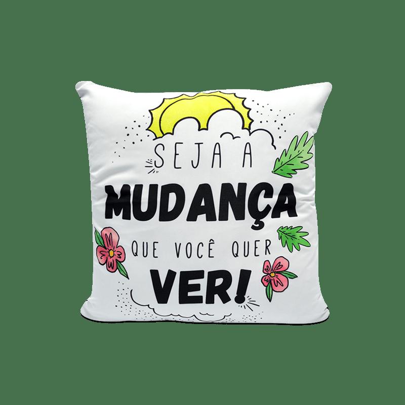 Capa de Almofada - Good Vibes Seja A Mudança