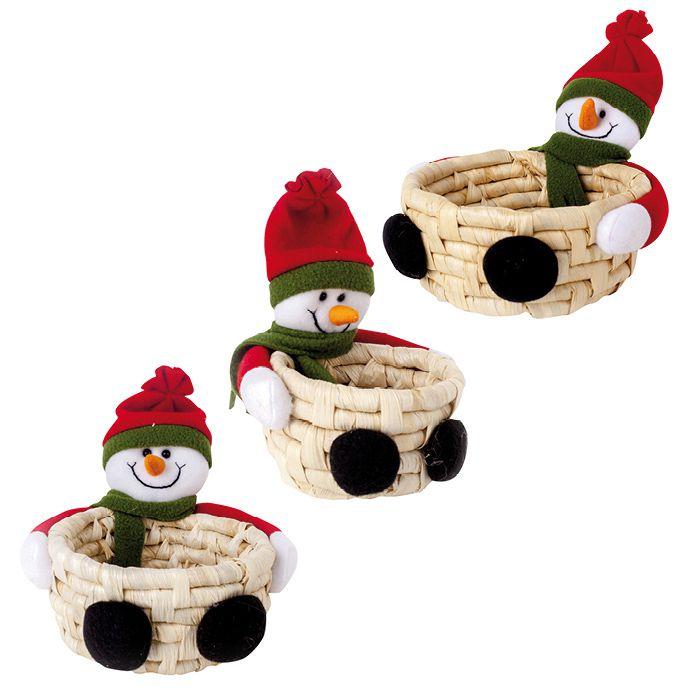 Cesta De Palha Com Boneco Noel Art Christmas Com 03 Unids.