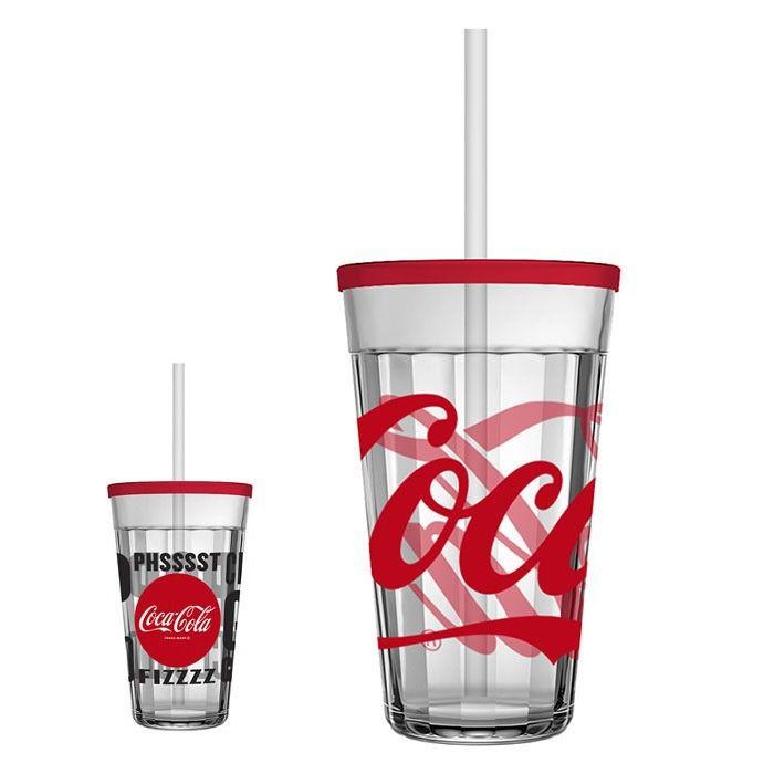 Copo Americano C/ Tampa e Canudo 450ml Coca Cola