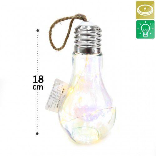 Enfeite Decorativo Lâmpada De Vidro Com 6 Leds - Cores Sortidas
