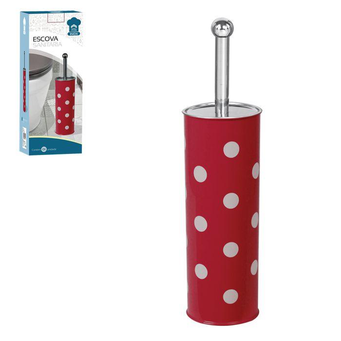 Escova Sanitária Poa Vermelha Inox Suporte 9x37cm
