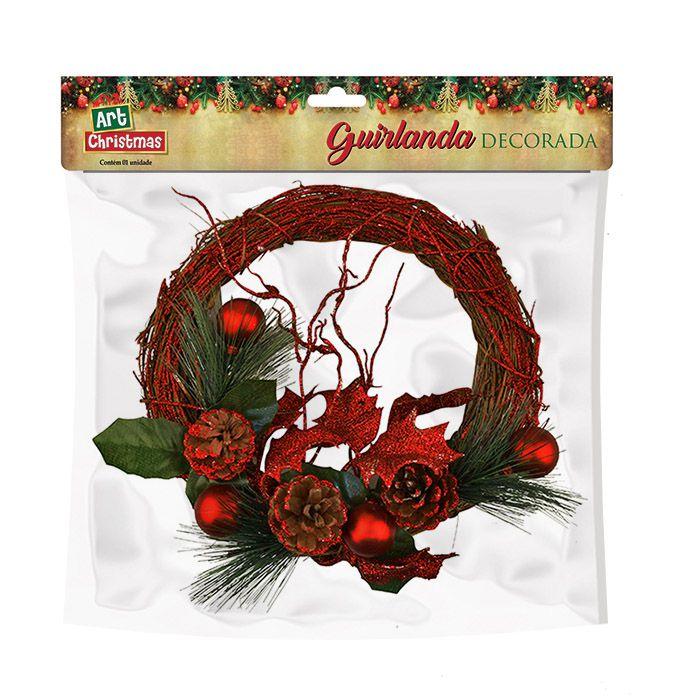 Guirlanda Art Christmas Vermelho 23 Cm