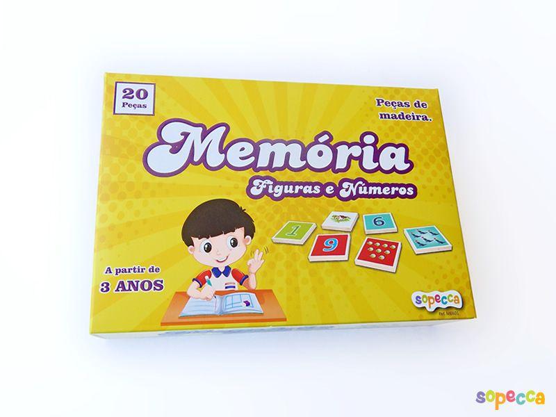 Jogo da Memória Figuras e Números 20 Peças - Sopecca ME601
