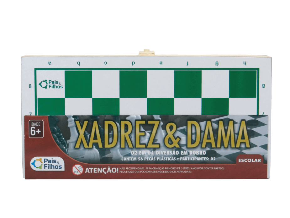 Jogo Xadrez e Dama Tabuleiro Estojo de Madeira 26x26 Cm