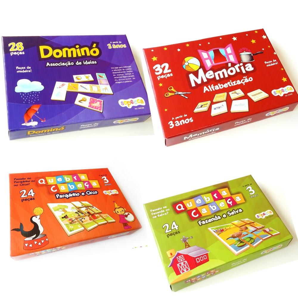 Kit Jogos Educativos de Madeira (MDF) Crianças a Partir de 3 Anos