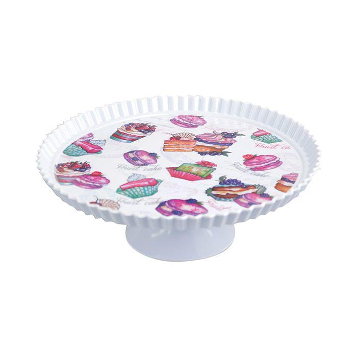 Boleira De Melamina com Pé Linha Cupcake 27,5 cm