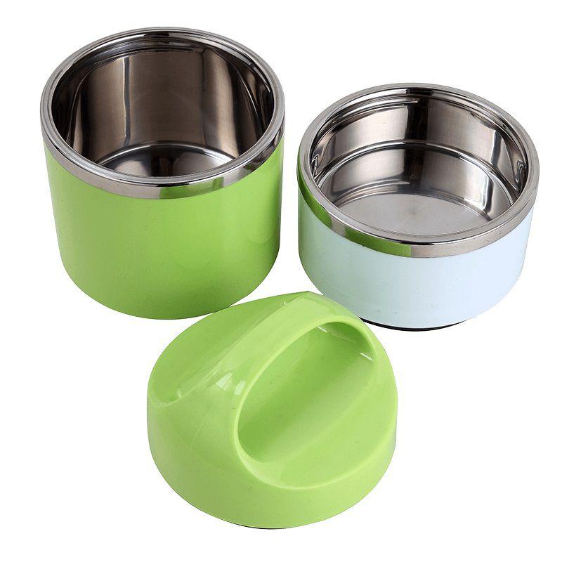 Marmita De Inox Verde Com Alca Fixa 2 Compartimentos