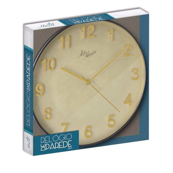 Relógio De Parede Gold Black 30cm