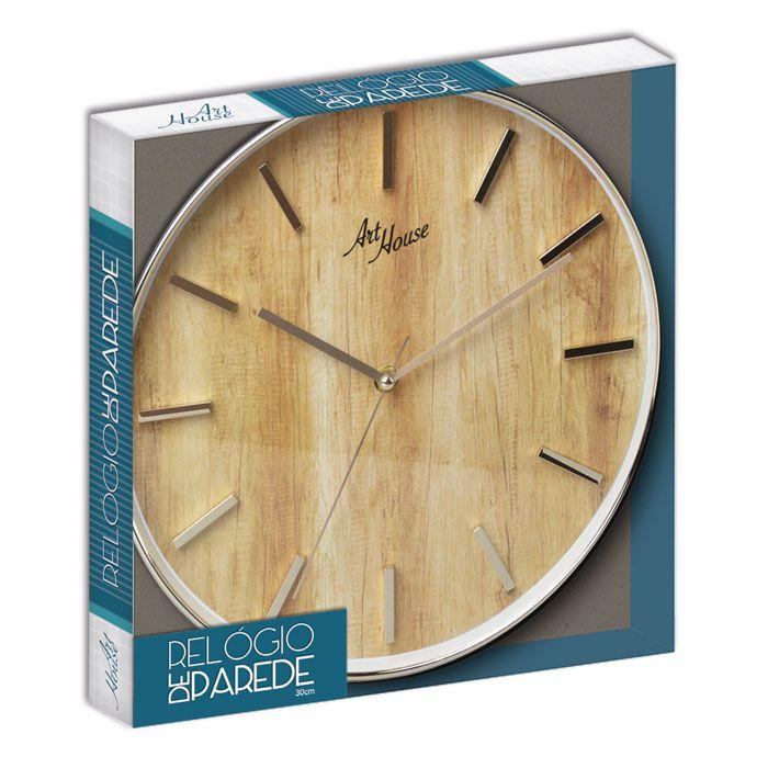 Relógio De Parede Gold Wood 30cm