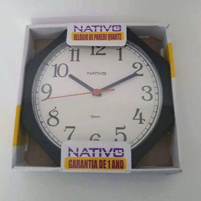 Relógio De Parede Oitavado Liso Quartz Nativo 23cm