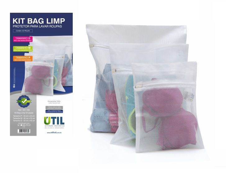 Kit 3 Sacos Protetor P/Lavar Roupas Bag Limp Tamanho PMG
