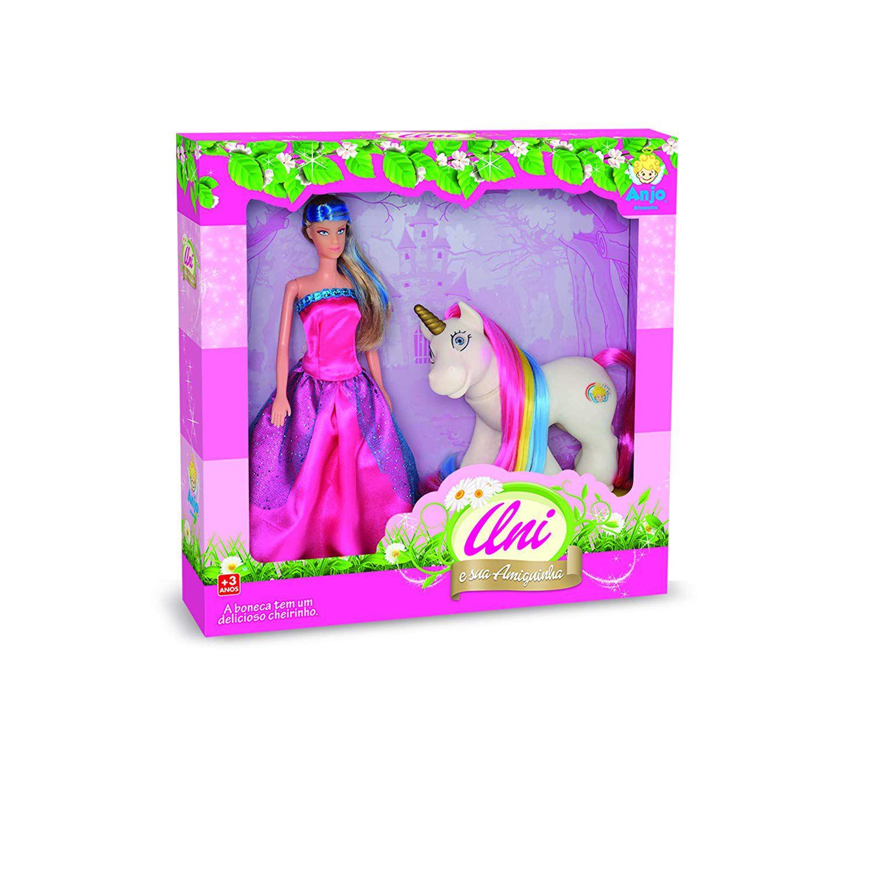 Boneca Uni E Sua Amiguinha Unicórnio - Anjo Brinquedos