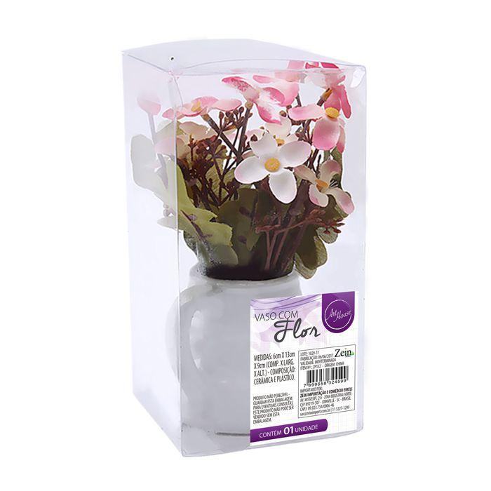 Vaso Decorativo Ceramica Com Flor Artificial