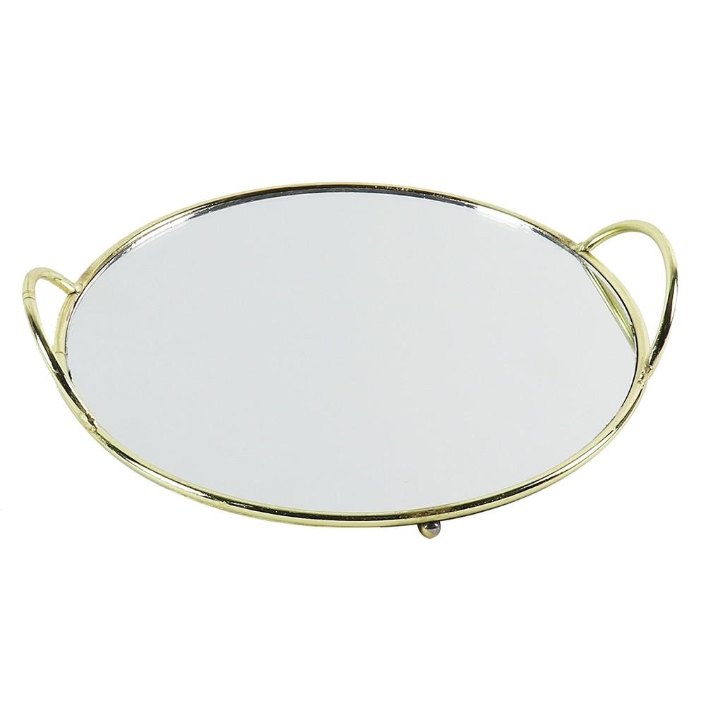 Bandeja de Espelho com Detalhes de Metal Dourado - BTC Decor
