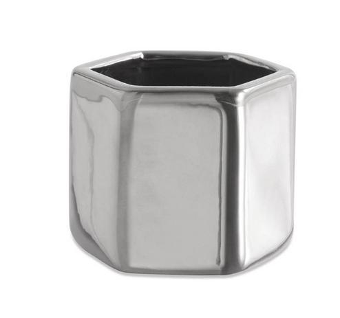 Cachepot Hexagonal Prata em Cerâmica - Mart Collection