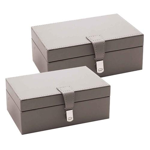 Conjunto de Caixas de Madeira e Tecido Cinza e Prata  2 peças - BTC Decor