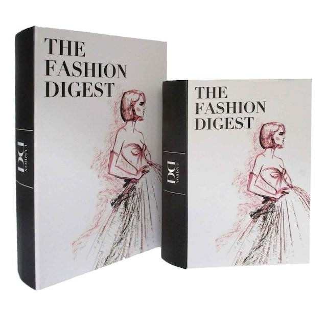 Conjunto  de Caixas Livro de Madeira The Fashion Digest 2 Peças - BTC Decor