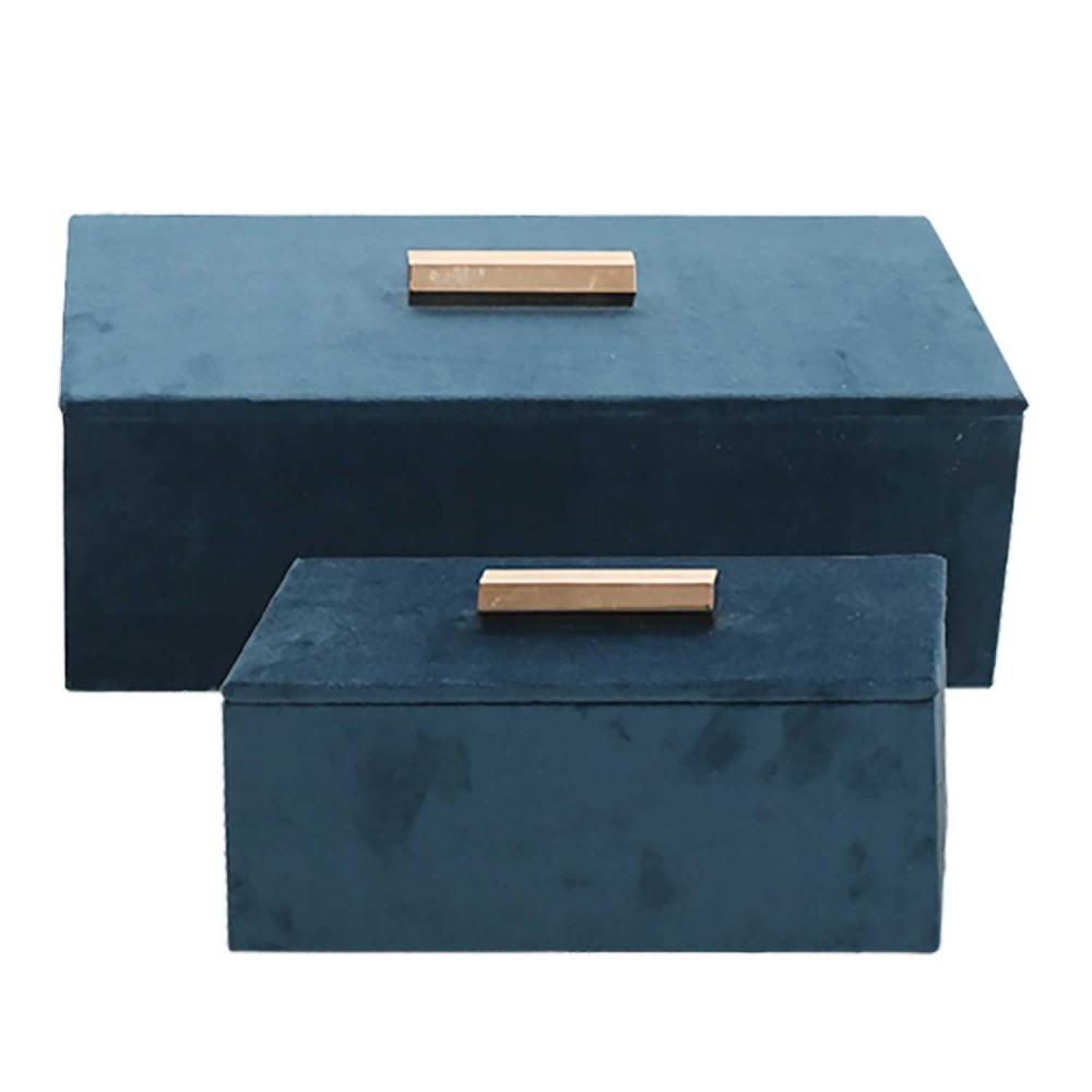Conjunto de Porta Joias de Veludo Azul e Puxador Dourado 2 Peças - BTC Decor