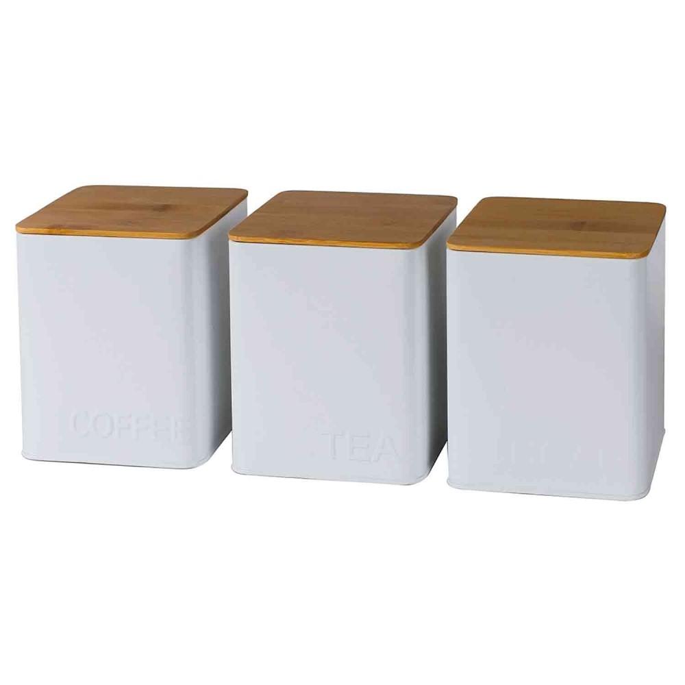 Conjunto de Potes Porta Condimento de Ferro Branco e Madeira 3 Peças - BTC Decor