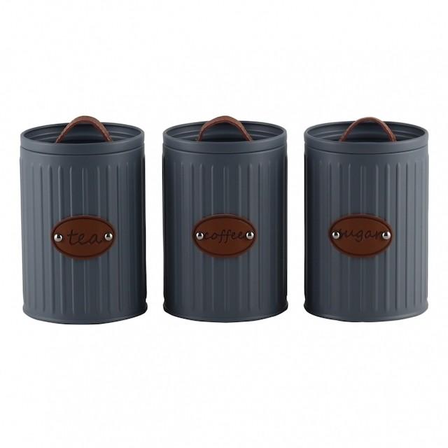 Conjunto de Potes Porta Condimentos de Ferro Cinza com Detalhes - BTC Decor