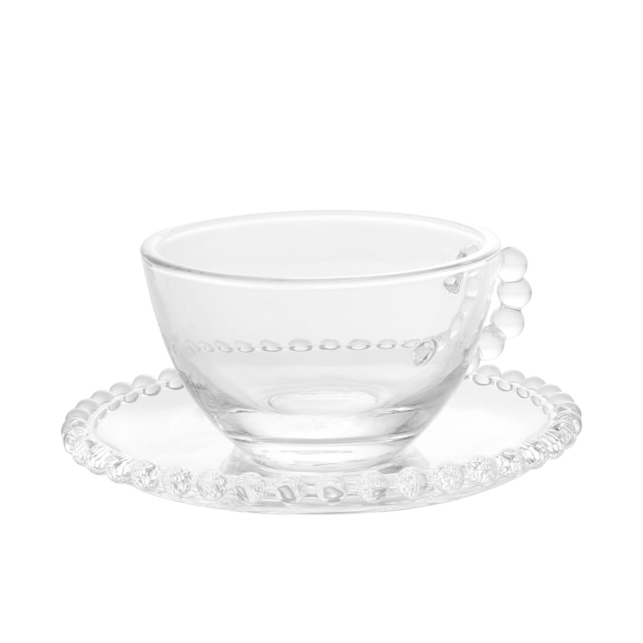 Conjunto 4 Xícaras de Chá Cristal com Pires Pearl 180ml - Wolff