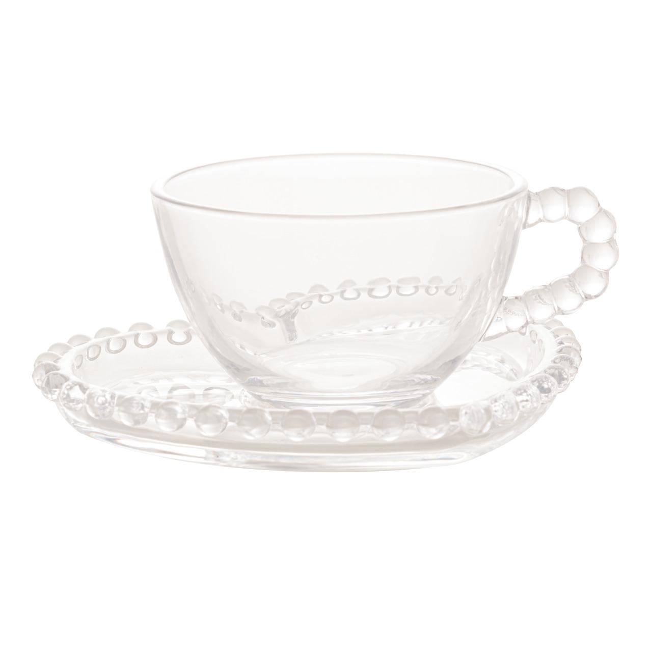 Conjunto de 4 Xícaras Chá Cristal com Pires Coração Pearl 180ml - Wolff