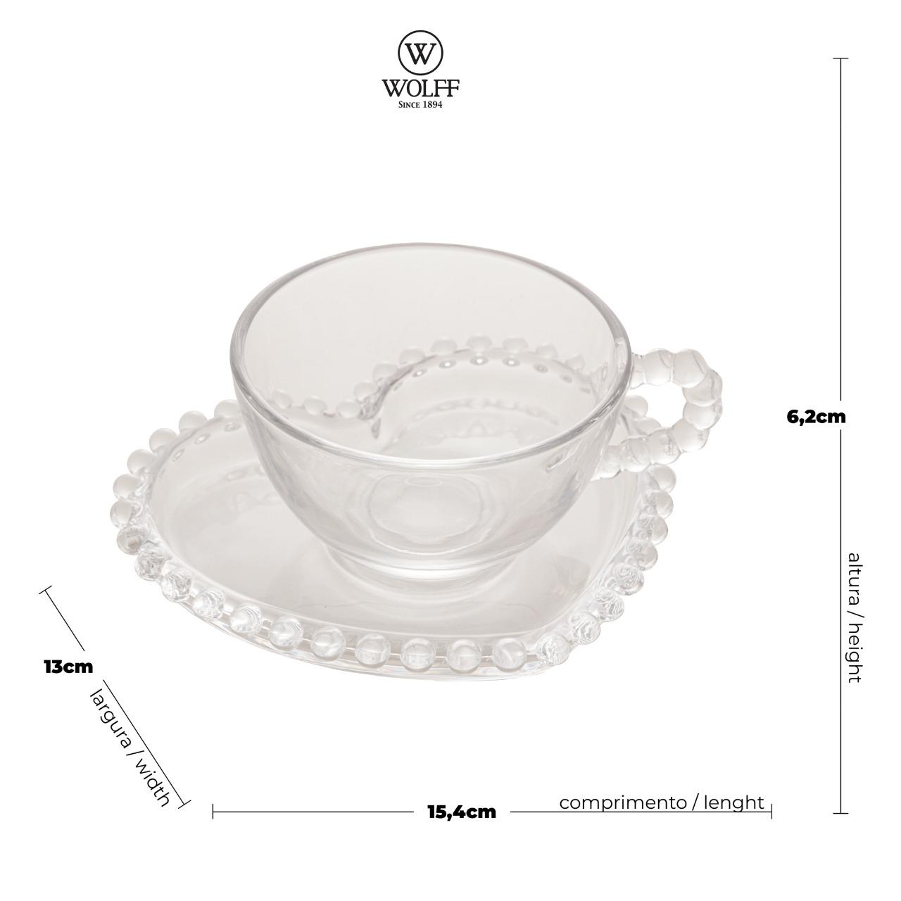 Conjunto de 4 Xícaras Chá Cristal com Pires Coração Pearl 180ml - Wolff  - Haus In