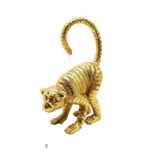 Escultura Macaco Dourado em Poliresina  - Haus In