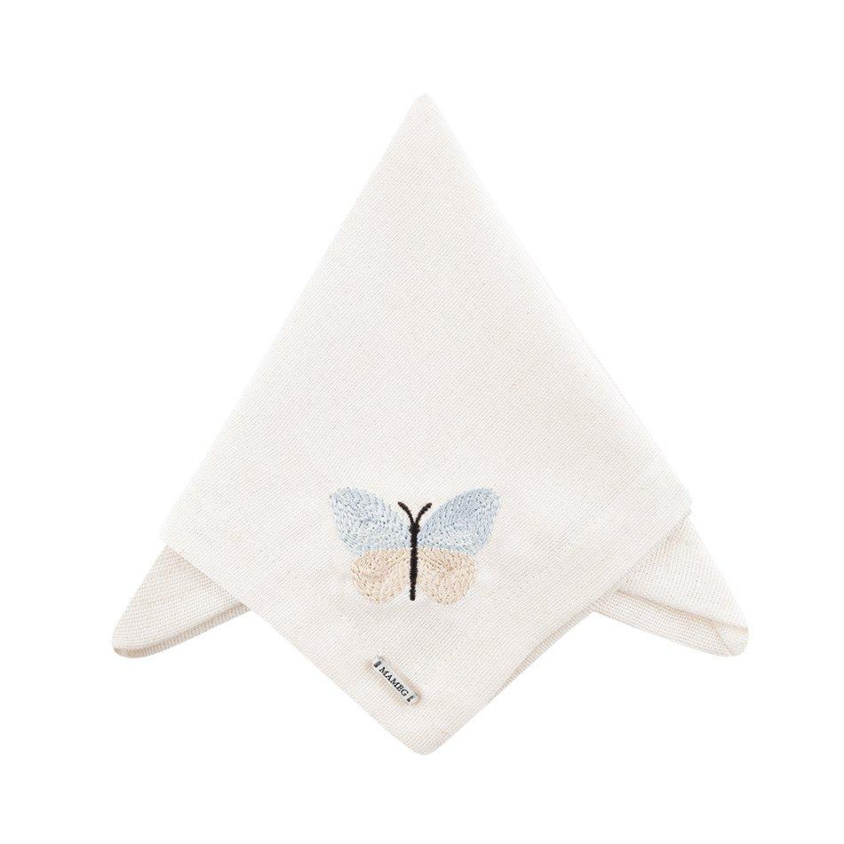 Guardanapo Linhão Off White Bordado Butterfly Azul - Mameg