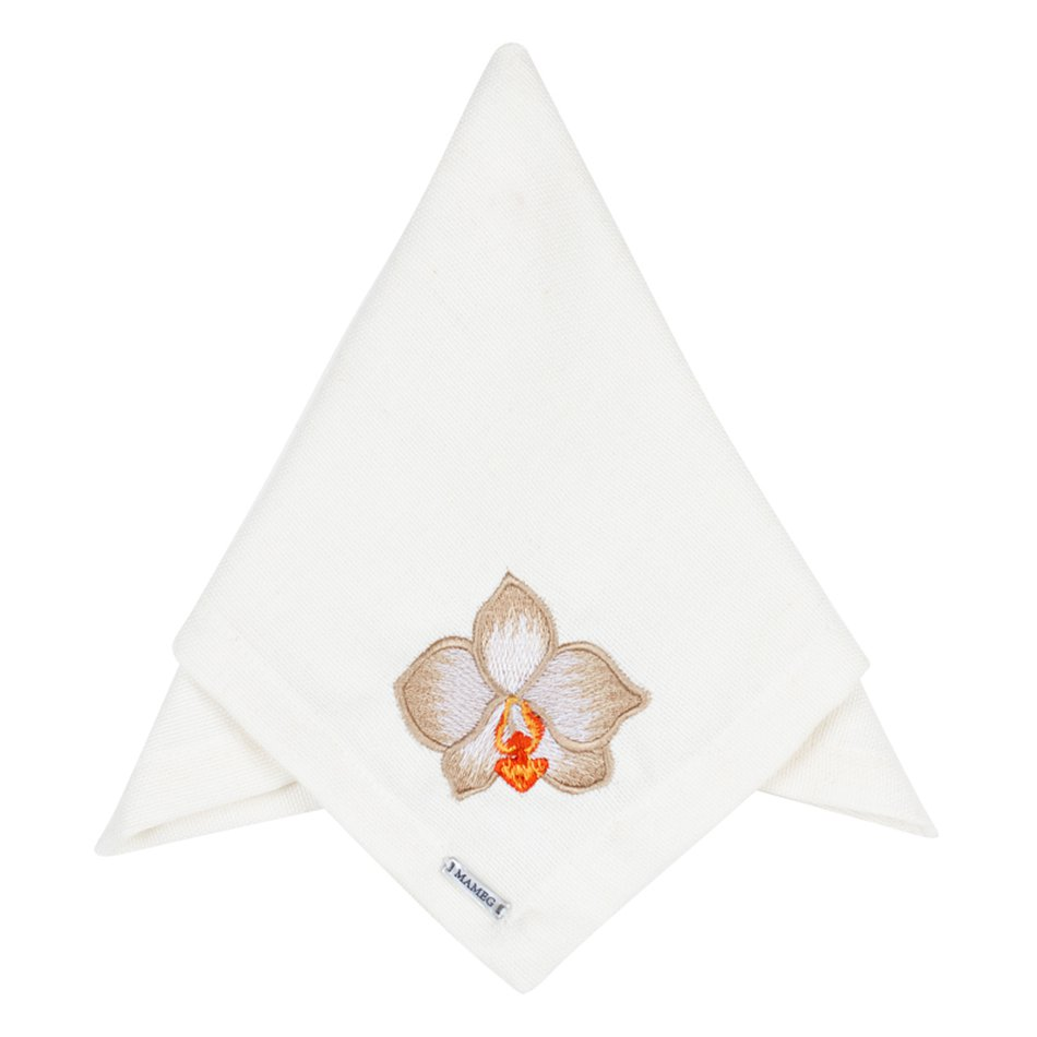 Guardanapo Linhão Off White Bordado Orquídea Fendi - Mameg