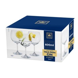 Jogo de 6 Taças para Gin Tônica em Cristal Ecológico 600ml - Full Fit  - Haus In