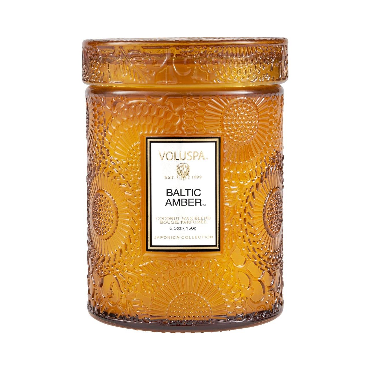 Mini Vela Pote Vidro 50h  Relevo Baltic Amber - Voluspa